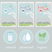 Milk, product label, background packaging design — Stock Vector