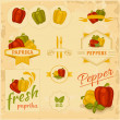 paprika, pepper, vegetables,  — Stock Vector