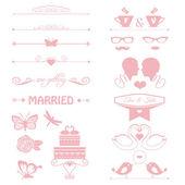 Elementos decorativos de convite, bolo, flores, casal de casamento — Vetor de Stock