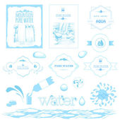 Water labels, drops, splash, mountain and waterfall landscape — Stock Vector