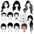 Eye mustache lips and hair, face parts, head character — ストックベクタ