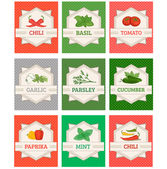 Vegetables and spices set labels, — Stock Vector