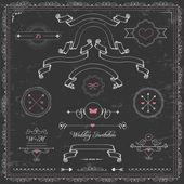 Vector diseño lindo elementos, invitación de la boda de pizarra, cintas vintage y marco — Vector de stock