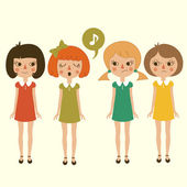 Singing cartoon girls character, vector cute kids — Stock Vector