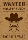 Western vector poster, wanted dead or alive, — Stock Vector