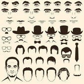 Eye, mustache, glasses, hat, lips and hair, — Stock Vector