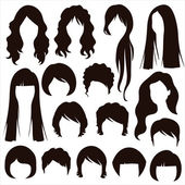 Hair silhouettes, woman hairstyle — Stock Vector