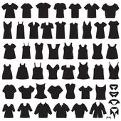 Isolated shirts and blouses silhouette — Stock Vector