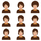 Avatar people icon, woman face — Stock Vector