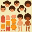 Vector kids face, paper doll, — Stock Vector #50708225