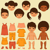 Vector kids face, paper doll, — Stock Vector