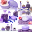 Collage of cosmetic products — Stock Photo