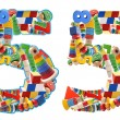 Number5 built from wooden toys — Stock Photo