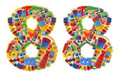 Number8 built from wooden toys — Stock Photo