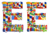 Wooden toys alphabet - letter E — Stock Photo