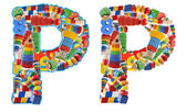 Wooden toys alphabet - letter P — Stockfoto