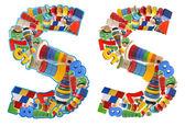 Ahşap oyuncak alfabesi - s harfi — Stok fotoğraf