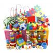 Box with many toys — Stock Photo