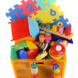 Box with very many toys — Stock Photo