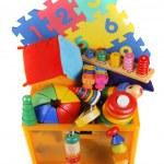 Box with very many toys — Stock Photo