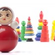 Bright red roly-poly toy — Stok fotoğraf
