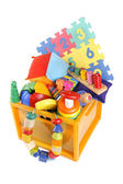 Box with very many toys — ストック写真