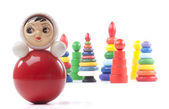 Bright red roly-poly toy — Stock Photo