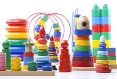 Many Colorful wooden pyramids toy — Stock Photo