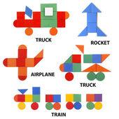 Transport set of geometric figures — Fotografia Stock