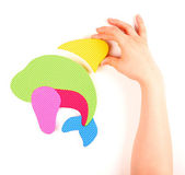 Hand and multicolored foam puzzle — Stok fotoğraf