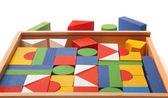 Caixa de madeira com muitos blocos — Foto Stock
