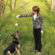 Young woman training her dog — Stock Photo