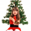 Little girl and christmas tree — Stock Photo #36477503