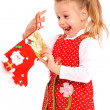 Little girl with christmas gift — Foto de Stock