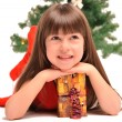 Little girl with a christmas gift — Stock Photo #36533753