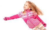 Little girl on white background — Stock Photo