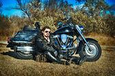 Stylized photo of man and bike — Stock Photo