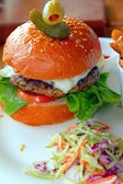 Burger and Coleslaw — 图库照片
