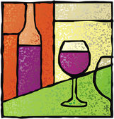 Wine stained glass — Stock Vector