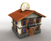 Money box house with euro — Stock Photo