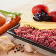 Ingredients for spaghetti bolognese with cheese — Lizenzfreies Foto