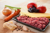Ingredients for spaghetti bolognese with cheese — Stock Photo