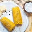 Boiled corn with butter and solt — Stock Photo
