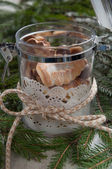 Homemade Christmas biscuits in glass jar — Stock Photo