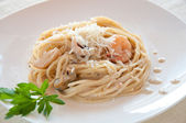 Seafood pasta with prawns — Stock Photo