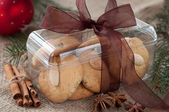 Homemade almond cookies in the box — Stock Photo