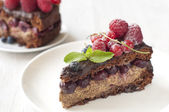 Delicious Chocolate cake with fresh berries — Stock Photo