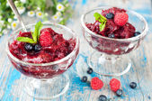 Fresh raspberry granita and mint (blueberry, berries). — Foto de Stock