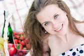 Beautifull woman portrait, closeup on the picnic — Foto de Stock