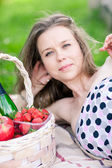 Beautifull woman portrait, closeup on the picnic — Stock Photo